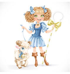 Cute shepherdess with lamb vector