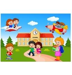 Happy cartoon school children vector