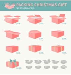 Packing of christmas gift vector