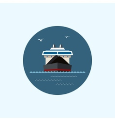 Icon with colored dry cargo ship vector