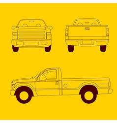 Pick-up truck line vector