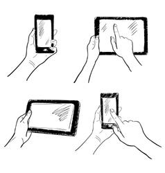 Hands touchscreen sketch set vector