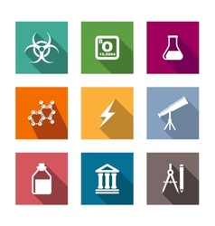 Flat science and education icons set vector