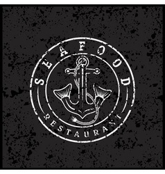 Grunge anchor with fish tails seafood restaurant vector