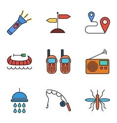 Camping flat icon set vector