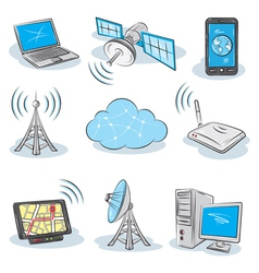 Wireless technology icons vector