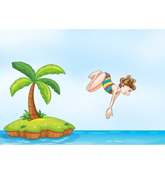 Palm tree girl diving on island vector