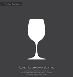 Wineglass premium icon white on dark background vector