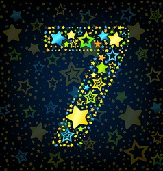 Number 7 cartoon star colored vector