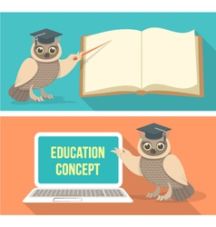 Wise owl with book and laptop vector