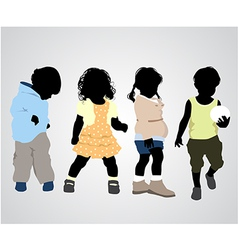 Four children silhouettes vector