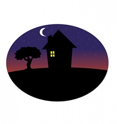 Home silhouette night vector