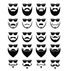 Beard and sunglasses hipster icons set vector