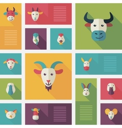 Colorful flat farm animals icons with long shadow vector