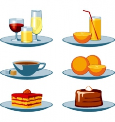 Food icons drinks and sweets vector