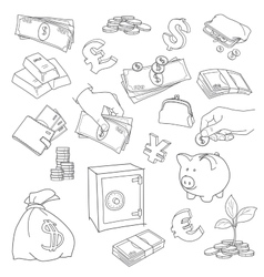 Set of doodle money symbol vector