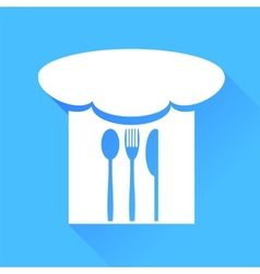 Spoon fork knife and chef hat vector