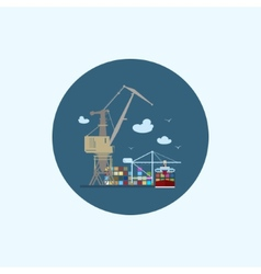 Icon with colored cargo container ship and cargo vector
