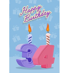 Happy birthday age 34 announcement and celebration vector