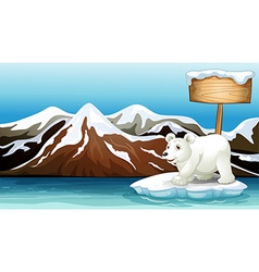 An iceberg in the ocean with an empty signboard vector