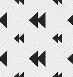 Rewind icon sign seamless pattern with geometric vector