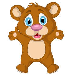 Cute little brown bear cartoon expression vector