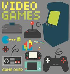 Video games icon set 4 vector