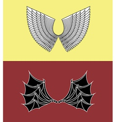 Demon and angel wings vector