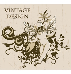 Grunge floral background with angel vector