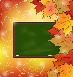 School board with maple leaves autumn background vector
