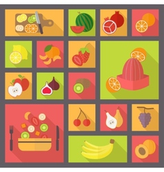 Fruits and vegetarian food icons set vector