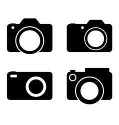 Photography camera black silhouettes vector
