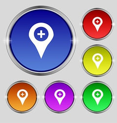 Plus map pointer gps location icon sign round vector