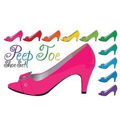 Peep toe shoeset vector