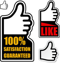 Thumb up satisfaction guaranteed label vector