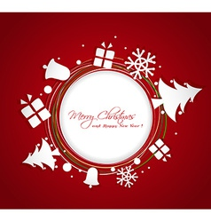 Paper christmas ornaments greeting card vector