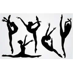 Black silhouettes of a ballerina vector