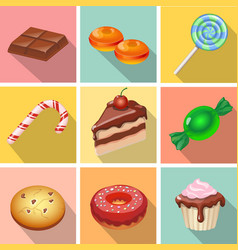 Candy sweets and cakes icons poster vector