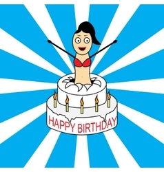 Birthday card with cake and girl vector
