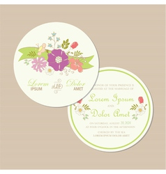 Round wedding card vector