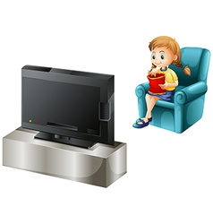 A child watching tv vector