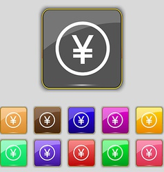 Japanese yuan icon sign set with eleven colored vector