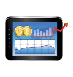 Tablet pc with finance concept vector