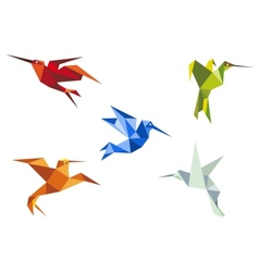 Flying color origami hummingbirds vector