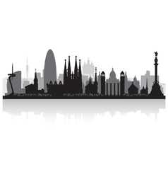 Barcelona spain city skyline silhouette vector