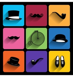 Trendy hipster icons with long shadow vector