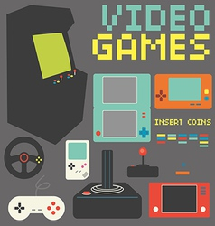 Video games icon set vector