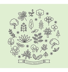 Leaves and trees linear outline icons set vector