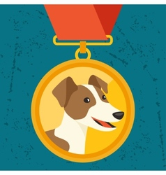 Background with gold medal and dog champion vector
