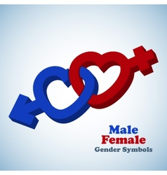 Male and female 3d gender symbols vector